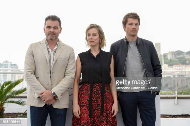 Clovis Cornillac Karin Viard and Pierre Deladonchamps attend the Little Tickles Photocall during the 71st annual Cannes Film Festival at Palais des...