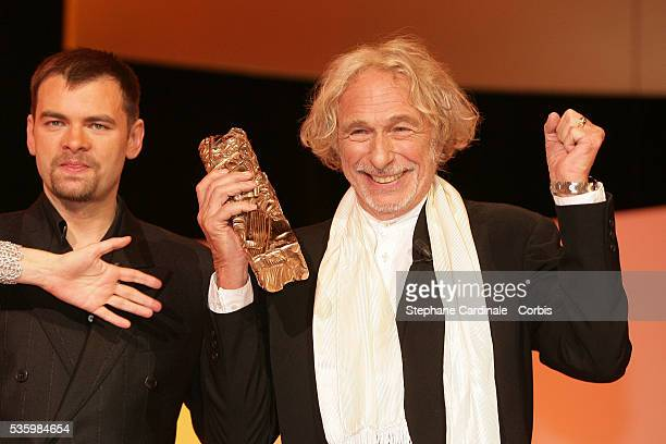 Clovis Cornillac presents French actor Pierre Richard with an Honorary Cesar award