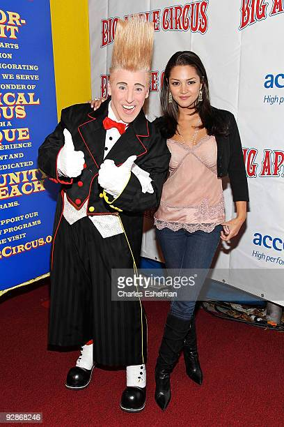 Clown Bello and actress Paula Garces attend the 2009 Big Apple Circus opening night gala benefit at Damrosch Park in Lincoln Center on November 6...