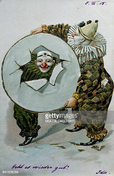 Clown ca 1905 postcard dry offset lithography with gold toning France 20th century