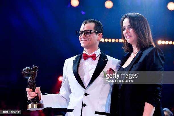 Clown Cesare Dias receives a bronze clown awards from Pauline Ducruet daughter of Princess Stephanie of Monaco during the gala of the 43th MonteCarlo...