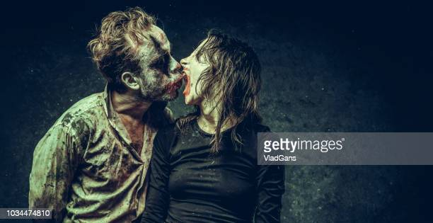 clown couple relationship - halloween zombie makeup stock photos and pictures