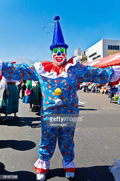 Clown dancing in the street, Arequipa, Peru