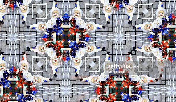 Clown dolls, kaleidoscope effect.