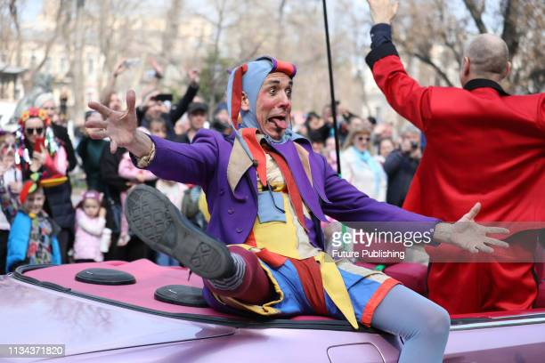 A clown grimaces as he entertains the crowd on a street during the traditional annual Humoryna Festival on April Fool's Day Odesa southern Ukraine...