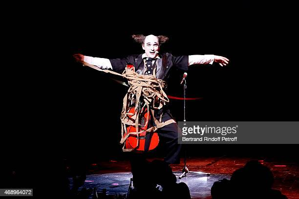 Clown Housch ma Housch performs on stage during the 'Paris Merveilles' Lido New Revue Opening Gala on April 8 2015 in Paris France