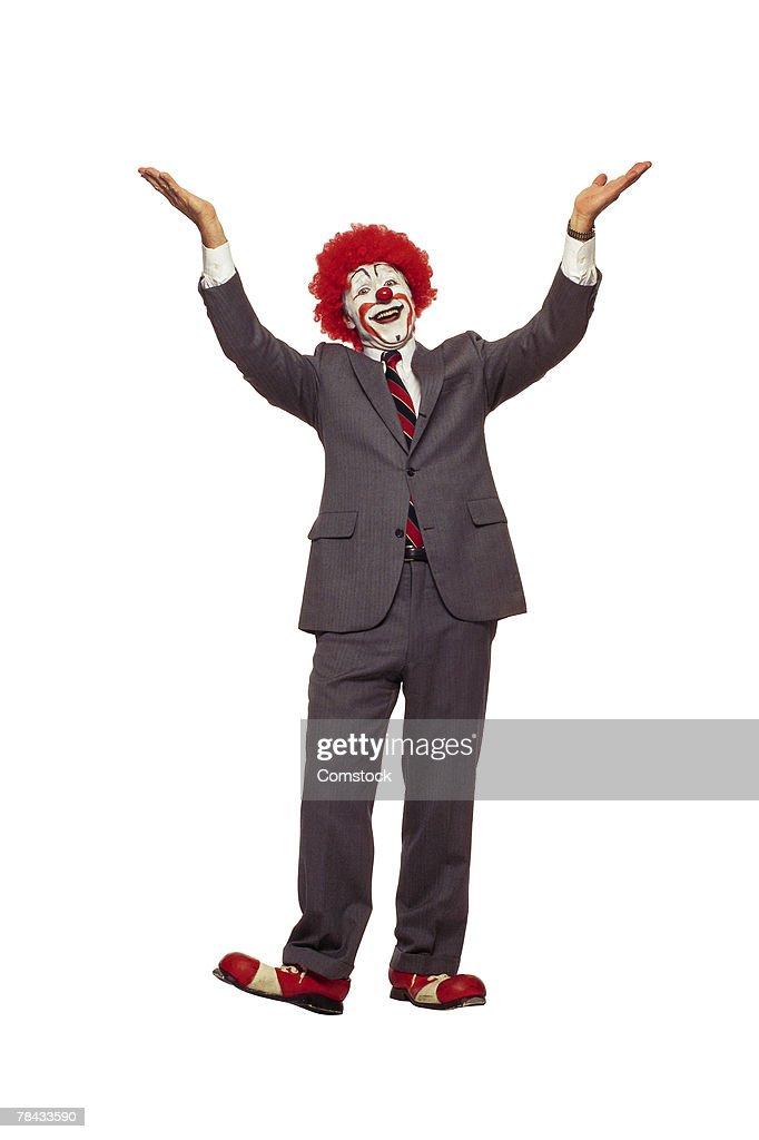 Clown in business suit : Stockfoto