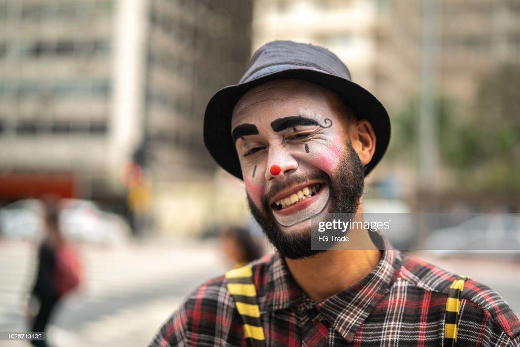 Clown Makes Funny Face : Stock Photo