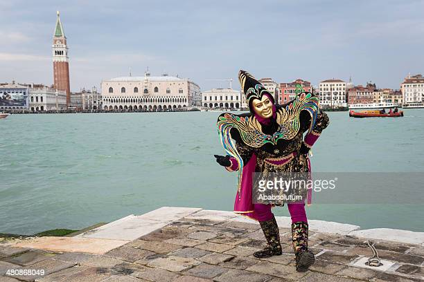 clown mask, venice carnival at san giorgio, italy, europe - harlequin stock photos and pictures