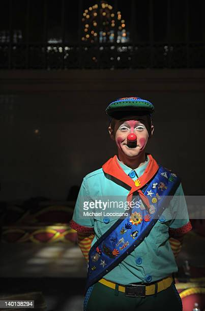 Clown participates in Ringling Bros. And Barnum & Bailey's sneak peak of their new national touring show DRAGONS today at Grand Central Terminal for...