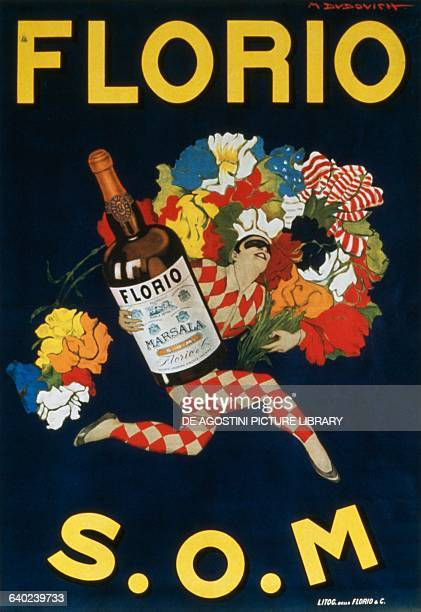 Clown Pierrot Bouquet of Flower poster for Florio Marsala SOM by Marcello Dudovich Italy 20th century