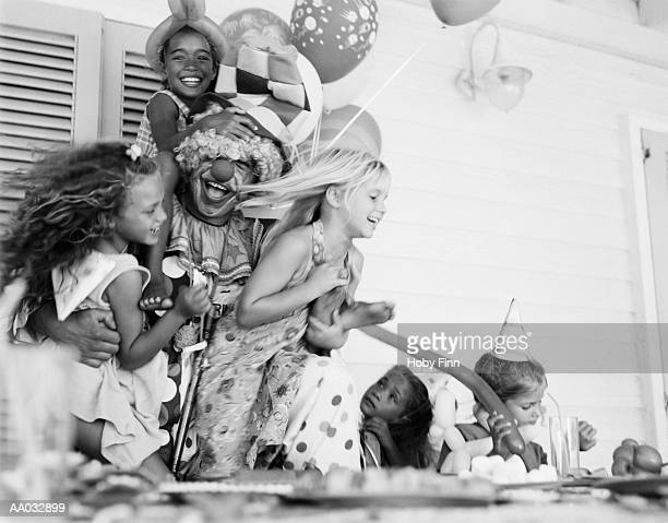 Clown Playing with Children at a Birthday Party