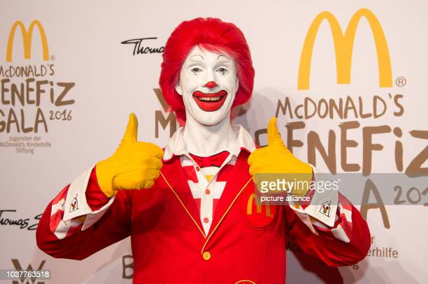 Clown Ronald McDonald photographed at the McDonald's Charity Gala in Munich Germany 20 October 2016 The Charity Gala takes place for the 13th time...