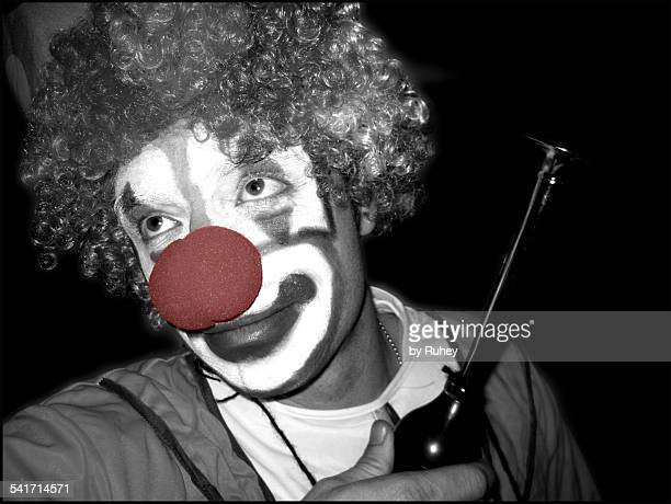 clown with a horn - happy clown faces stock photos and pictures