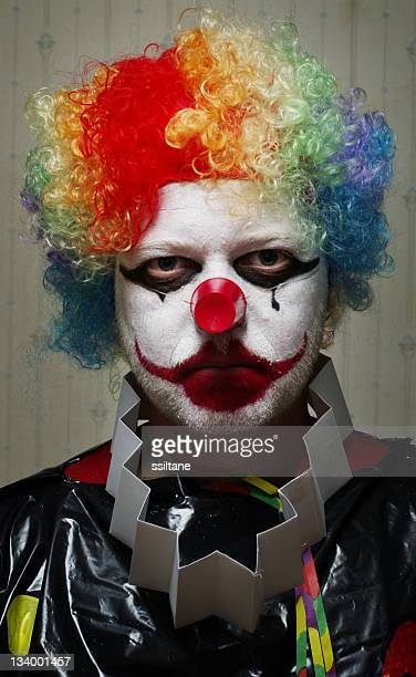 clown with a serious facial expression - sad clown stock photos and pictures