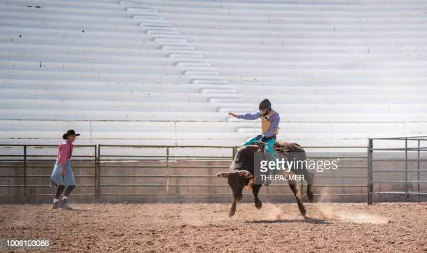 clown working a bull at the rodeo - bull riding stock pictures, royalty-free photos & images