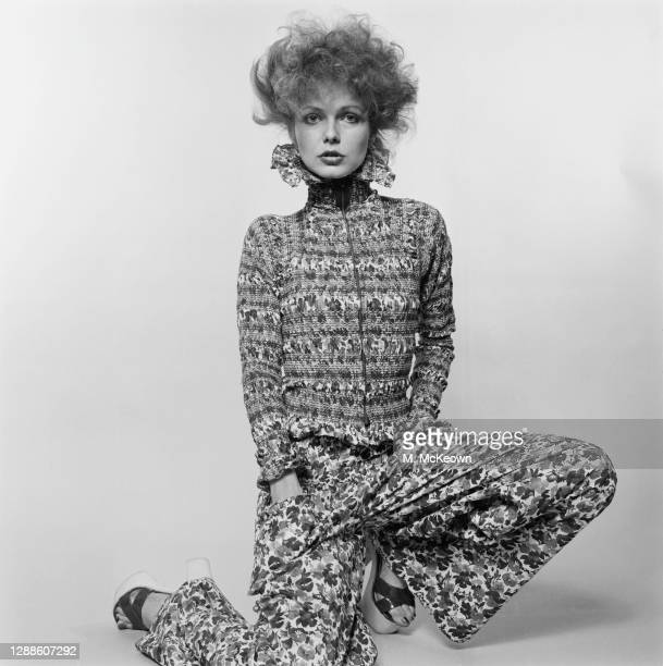 Clown-inspired outfit by British fashion designers Foale and Tuffin, with a ruched jacket and loose trousers, UK, 12th February 1973.