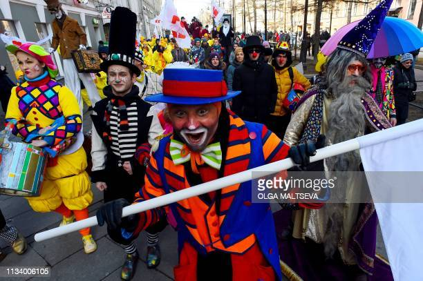 Clowns and mimes perform in Saint Petersburg to mark the upcoming April Fools' Day March 31 2019