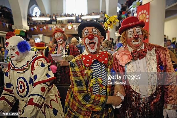 Clowns attend the 70th anniversary Clown Church Service at All Saints Church in Haggerston on February 7 2016 in London England Clowns attended the...