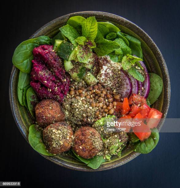 Clsoe-up of falafel bowl