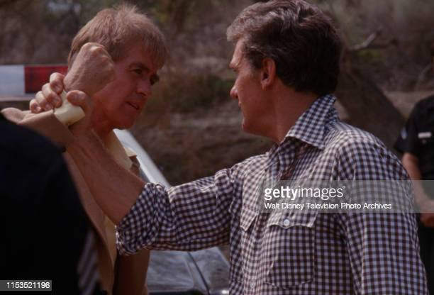 Clu Gulager Robert Stack appearing in the ABC tv series 'Most Wanted' episode 'The Two Dollar Kidnapper'