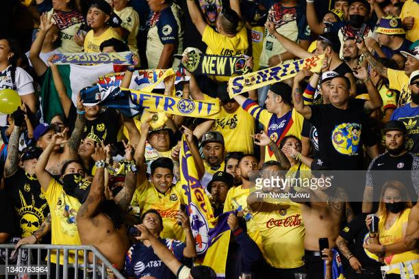 Club America fans cheer during the semifinal second leg match of the CONCACAF Champions League 2021 between Philadelphia Union and Club America at...