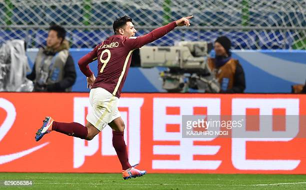 Club America forward Silvio Romero celebrates his goal during the Club World Cup football match between Jeonbuk Hyundai and Club America in Suita...