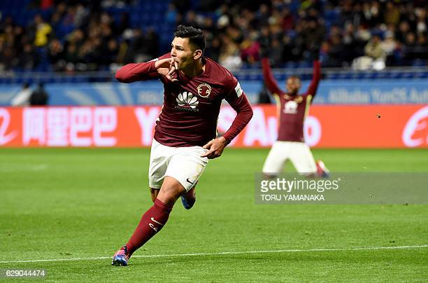 Club America forward Silvio Romero reacts after scoring his second goal during the Club World Cup football match between Jeonbuk Hyundai and Club...