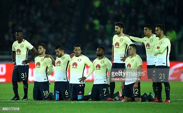 Club America players look on during the penalty shoot out during the FIFA Club World Cup 3rd place match between Club America and Atletico National...