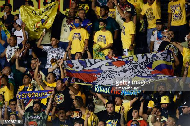 Club America supporters cheer during the semifinal second leg match between Philadelphia Union and Club America during the CONCACAF Champions League...