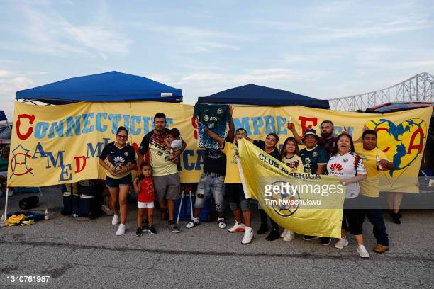 Club America supporters pose before the semifinal second leg match of the CONCACAF Champions League 2021 at Subaru Park on September 15, 2021 in...