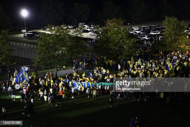 Club America supporters walk into the stadium before the semifinal second leg match of the CONCACAF Champions League 2021 at Subaru Park on September...