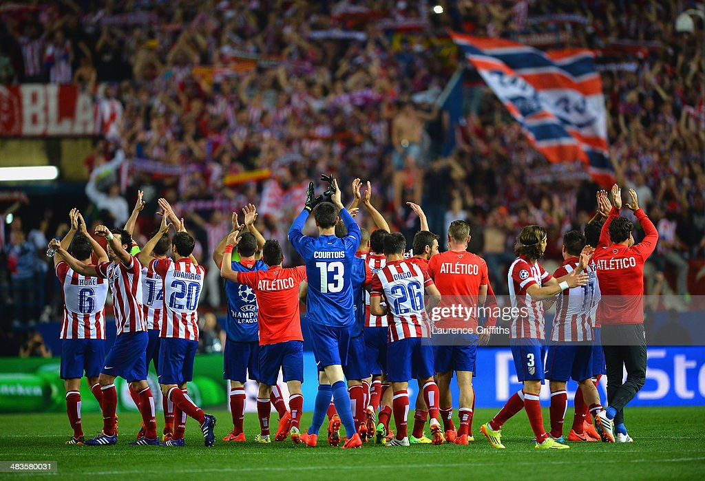 Club Atletico de Madrid applaud their fans during the UEFA Champions League Quarter Final second leg match between Club Atletico de Madrid and FC Barcelona at Vicente Calderon Stadium on April 9, 2014 in Madrid, Spain.