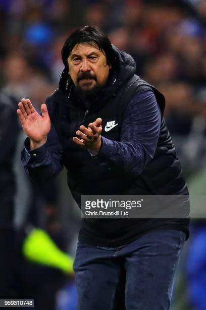 Club Atletico de Madrid assistant manager German Burgos gestures from the sideline during the UEFA Europa League Final between Olympique de Marseille...