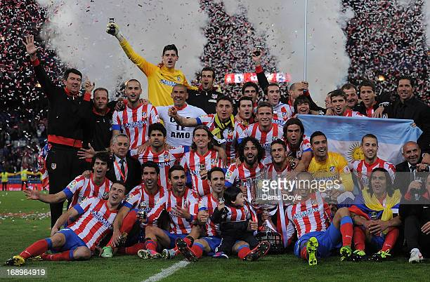 Club Atletico de Madrid celebrates with the trophy after winning the Copa del Rey Final 21 against Real Madrid CF at Estadio Santiago Bernabeu on May...