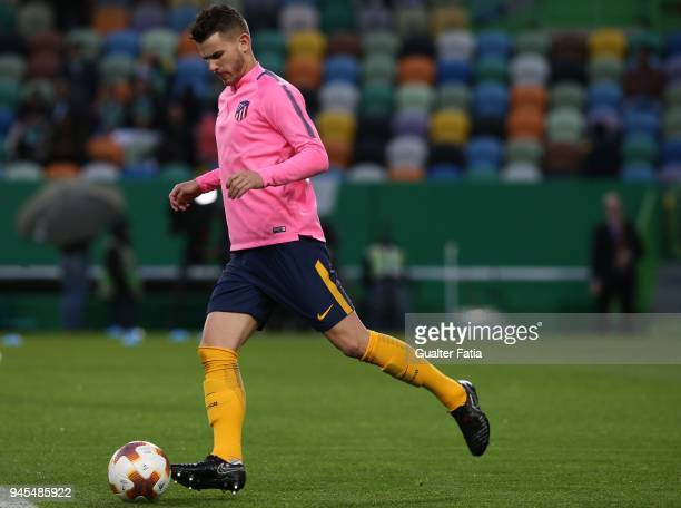 Club Atletico de Madrid defender Lucas Hernandez from France in action during warm up before the start of the UEFA Europa League Quarter Final Leg...