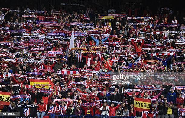 Club Atletico de Madrid fans cheer on their team during the La Liga match between Club Atletico de Madrid and Granada CF at Vicente Calderon Stadium...