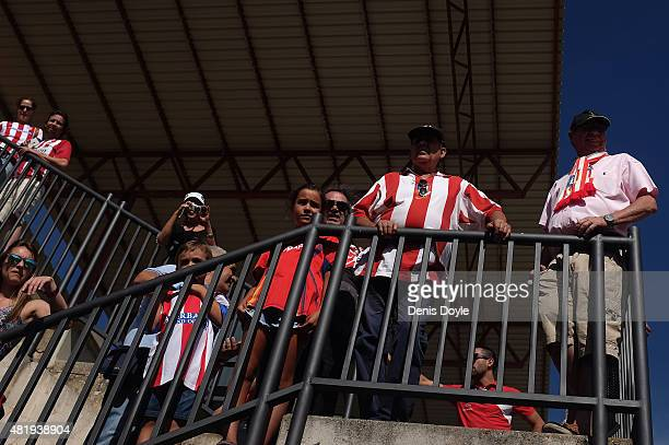 Club Atletico de Madrid fans look on from the stand prior to the Jesus Gil y Gil Memorial preseason friendly match between Numancia and Club Atletico...
