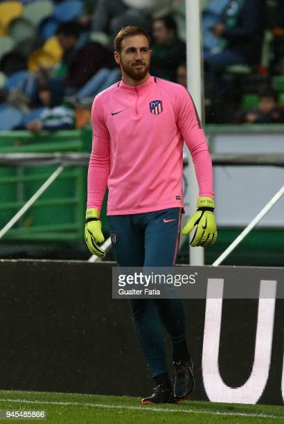 Club Atletico de Madrid goalkeeper Jan Oblak from Slovenia in action during warm up before the start of the UEFA Europa League Quarter Final Leg Two...