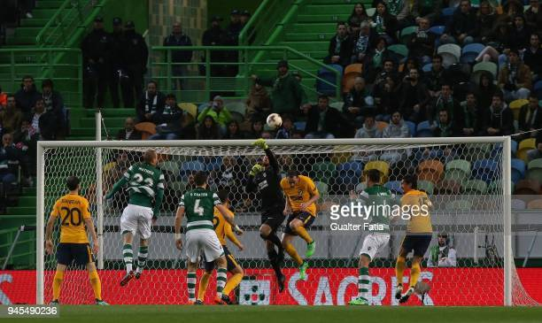 Club Atletico de Madrid goalkeeper Jan Oblak from Slovenia in action during the UEFA Europa League Quarter Final Leg Two match between Sporting CP...