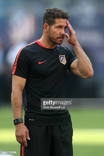 Club Atletico de Madrid manager Diego Simeone looks on during a training session on the eve of the UEFA Champions League Final at Stadio Giuseppe...