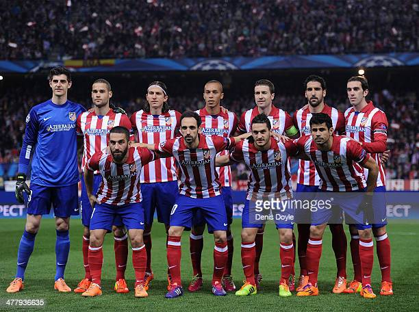 Club Atletico de Madrid players line-up before the start of the UEFA Champions League Round of 16, 2nd leg match between Club Atletico de Madrid v AC...