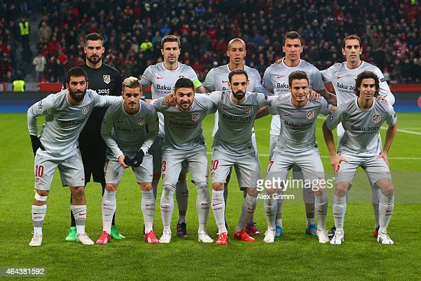 Club Atletico de Madrid pose for a team photograph during the UEFA Champions League round of 16 match between Bayer 04 Leverkusen and Club Atletico...