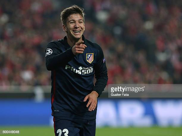 Club Atletico de Madrid's forward Luciano Vietto celebrates after scoring a goal during the UEFA Champions League match between SL Benfica and Club...