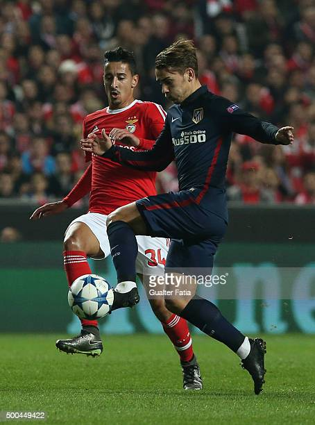 Club Atletico de Madrid's midfielder Antoine Griezmann with SL Benfica's defender Andre Almeida in action during the UEFA Champions League match...