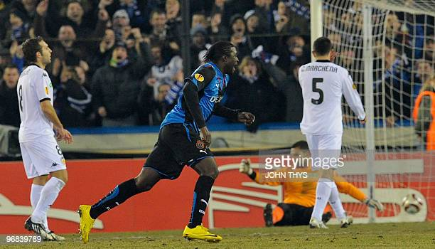 Club Bruges' Dorge Kouemaha celebrates after scoring against Valencia FC during their UEFA Europa League first leg round 32 football match against...