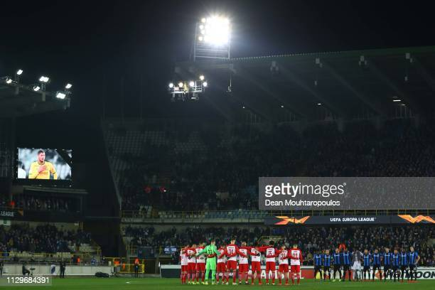 Club Brugge and RB Salzburg players observe a minute of silence in memory of Emiliano Sala prior to the UEFA Europa League Round of 32 First Leg...