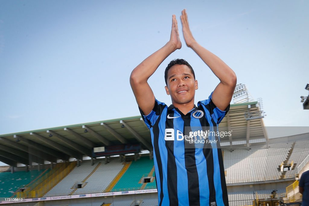 Club Brugge' Carlo Bacca is pictured during the fan day of the Belgian first league football team on July 7, 2013, in Brugge. Belgium Out