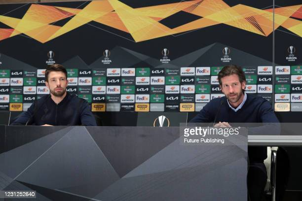Club Brugge coach Rik De Mil and defender Brandon Mechele are pictured during the post-match news conference after a 1-1 draw in the UEFA Europa...