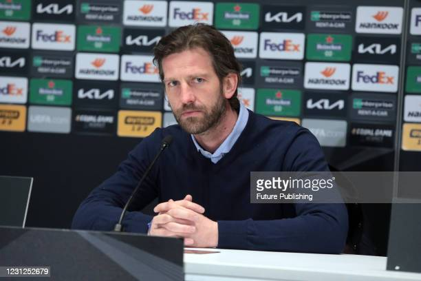 Club Brugge coach Rik De Mil attends the post-match news conference after a 1-1 draw in the UEFA Europa League Round of 32 1st leg game against FC...